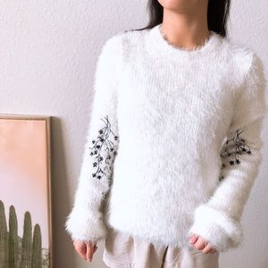 Woven Heart Embroidered Floral Fuzzy Sweater